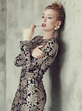 Chiffon evening dress with a trapezoidal pattern, large sizes M to 3XL